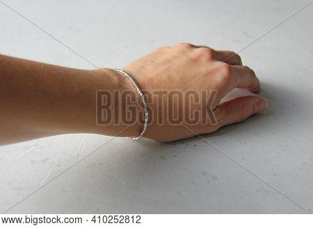 Silver Bracelet. Bracelet On Hand From Silver. Handmade Jewelry. Handmade Bracelets On Light Modern
