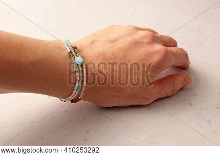 Pearls Bracelet. Bracelet Made Of Stones On Hand From Natural Stone Pearls. Bracelet Made Of Natural