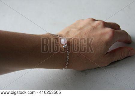 Rose Quartz Heart Bracelet. Bracelet Made Of Stones On Hand From Natural Stone Rose Quartz. Bracelet
