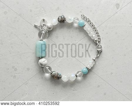 Beautiful Asymmetrical Designer Bracelet Made Of Natural Stones And Silver. Aquamarine, Rock Crystal