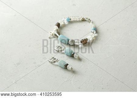 Beautiful Asymmetrical Designer Bracelet, Earrings Made Of Natural Stones And Silver. Aquamarine, Ro