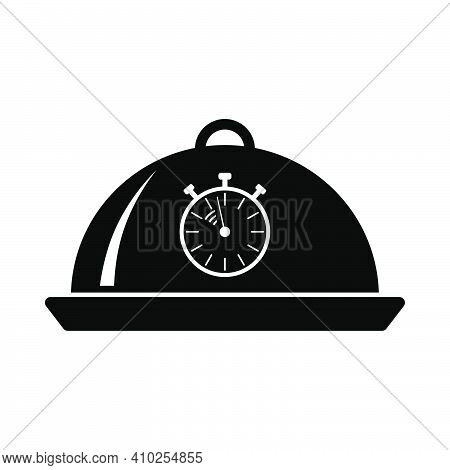 Cloche With Stopwatch Icon. Black Stencil Design. Vector Illustration.
