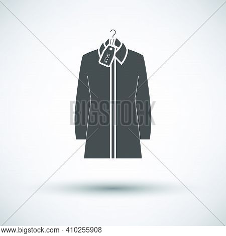 Blouse On Hanger With Sale Tag Icon. Dark Gray On Gray Background With Round Shadow. Vector Illustra