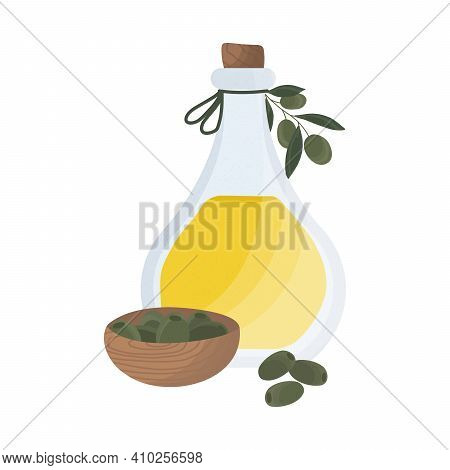 Olive Oil In A Glass Bottle. Olive Tree Branch. Olives In A Wooden Cup. Vector Stock Illustration Is