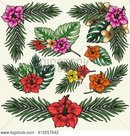 Hawaiian Tropical Floral Colorful Composition With Exotic Flowers Palm And Monstera Leaves In Vintag