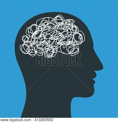 Silhouette Of Human Head With Tangled Line Inside, Like Brain. Concept Of Chaotic Thought Process, C