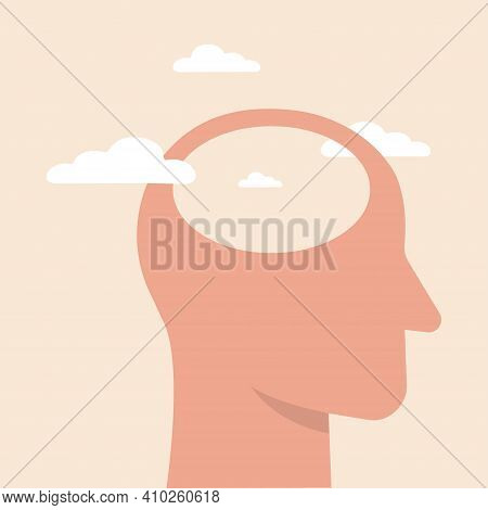 Empty Head Icon. Illustration Of Stupid, Foolish And Empty-headed Person. Head Silhouette With White