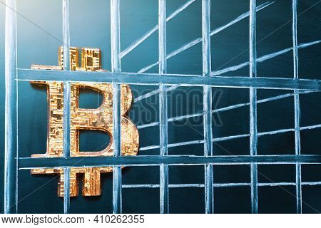 Bitcoin In Prison. Concept Of Arrest, Fraud And Deception With Cryptocurrency And Mining. Bitcoin Ba