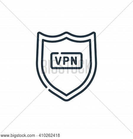 vpn icon isolated on white background from telecommuting collection. vpn icon thin line outline line
