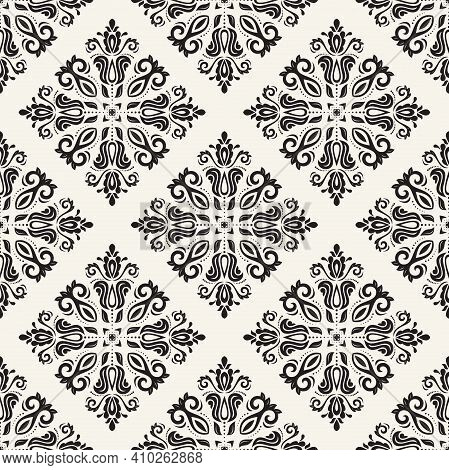 Classic Seamless Black And White Pattern. Damask Orient Ornament. Classic Vintage Background. Orient