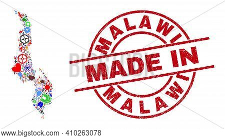 Industrial Mosaic Malawi Map And Made In Grunge Stamp. Malawi Map Collage Composed With Wrenches, Wh