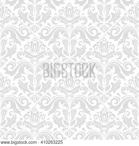 Classic Seamless Light Pattern. Damask Orient Ornament. Classic Vintage Background. Orient Ornament