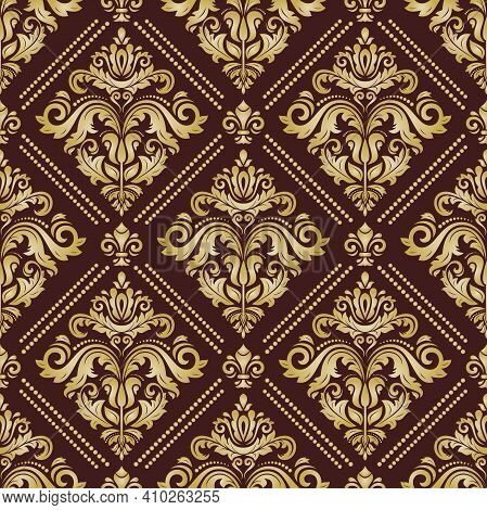 Classic Seamless Pattern. Damask Orient Golden Ornament. Classic Vintage Background. Orient Ornament
