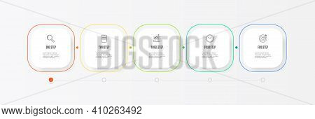 Business Infographic Thin Line Process With Square Template Design With Icons And 5 Options Or Steps
