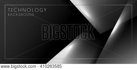 Abstract Gradient White And Black Glossy Style Template. Overlapping Artwork Of Headline With Copy S