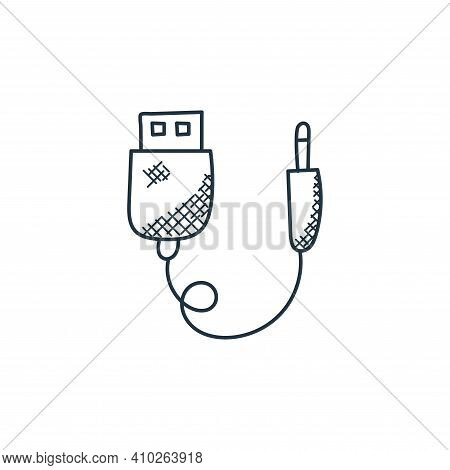 usb connector icon isolated on white background from technology collection. usb connector icon thin