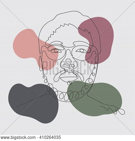Abstract Hero Face Drawing Of Illustration Style Shape. Decorative With Retro Style Of Minimal Color