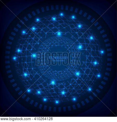 Abstract Technology Line Blue Structure System Of Internet Connection Template. Overlapping Of New D