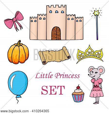 Seamless Pattern For A Little Princess. Pink Magic Wand, Bow, Stars, Pumpkin, Balloon, Cupcake And D