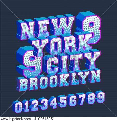 New York Brooklyn 3d Design Typography With Numbers For T-shirt Print Stamp, T Shirts Applique, Tee