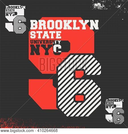 Brooklyn State University Nyc Print For T-shirt Stamp, Tee Applique, Fashion Typography, Badge, Labe
