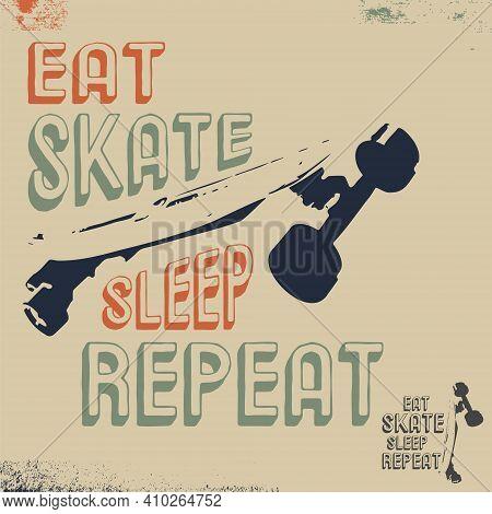 Eat Skate Sleep Repeat T-shirt Print Stamp For Tee, T Shirts Applique, Fashion, Badge, Label Retro C