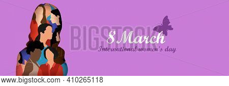 Happy International Women's Day On March 8Th Design Background. Illustration Of Woman's Face Profile