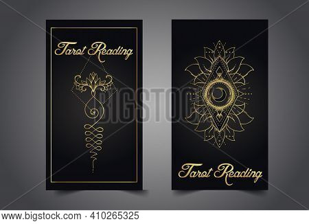 Magician, Fortune Teller Or Tarot Reader Card Design Template. Vector Illustration. Mysterious Symbo