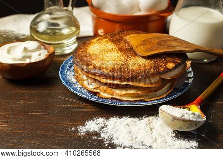 Thin Pancakes Made Of Yeast-free Dough. Crepe Suzette. Pancakes Are Baked From A Liquid Dough Made O