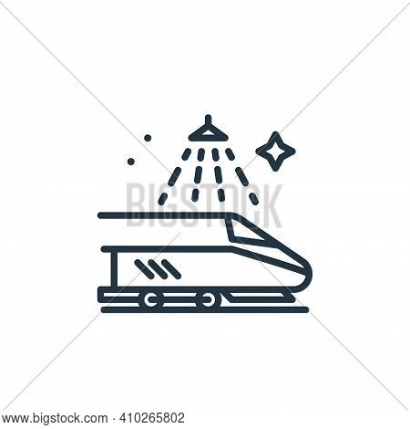 train icon isolated on white background from mass disinfection collection. train icon thin line outl