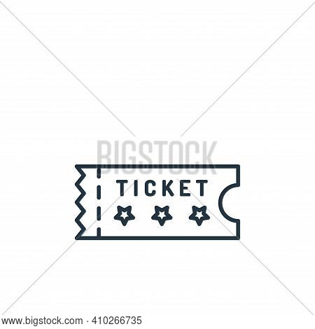 ticket icon isolated on white background from casino collection. ticket icon thin line outline linea