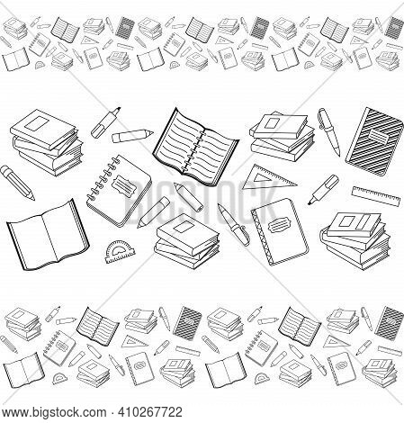 Books, Textbook, Notebook And Office Stationary On A White Background. School Supplies. Vector Seaml