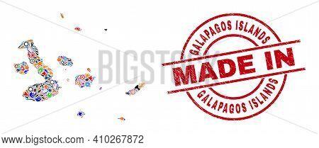 Service Mosaic Galapagos Islands Map And Made In Grunge Watermark. Galapagos Islands Map Mosaic Comp