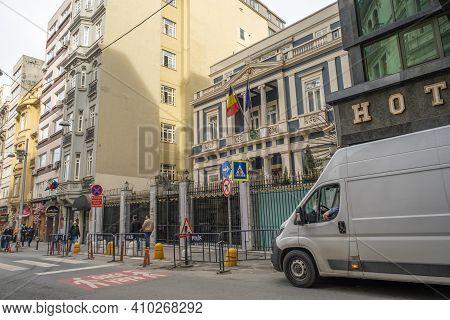 Beyoglu, Istanbul, Turkey - 02.17.2021: Embassy And Consulate Of Belgium In Turkey In Taksim, Near I