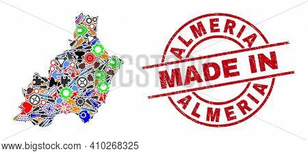 Science Mosaic Almeria Province Map And Made In Scratched Rubber Stamp. Almeria Province Map Composi