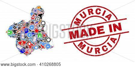 Production Murcia Province Map Mosaic And Made In Grunge Stamp. Murcia Province Map Mosaic Designed