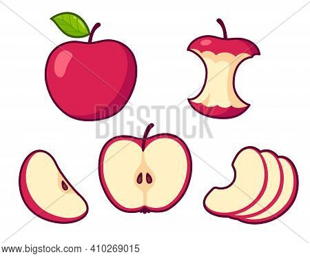Red Apple Cartoon Set. Whole Fruit And Core, Cross Section Of Cut Apple, Slices. Isolated Vector Cli