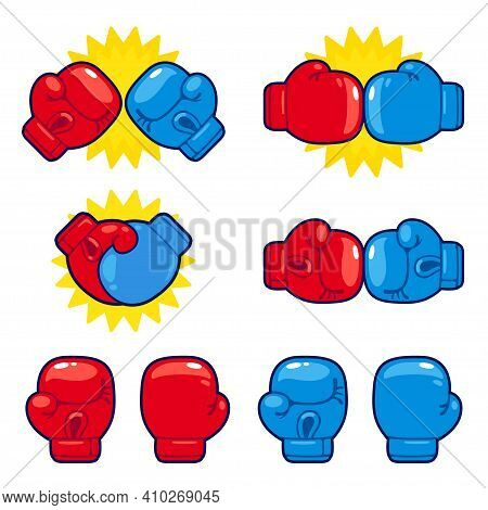Cartoon Red Vs Blue Boxing Gloves Set. Boxing Match Opponents, Competition Icons. Isolated Vector Il