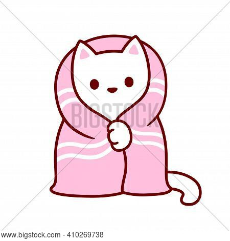 Cute Cartoon Cat With Blanket. Kawaii White Kitten In Cozy Pink Blanket. Isolated Vector Clip Art Il