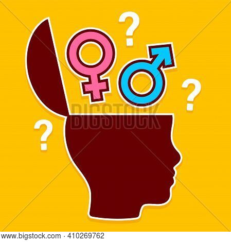 Open Head With Gender Symbols, Education And Understanding Of Gender Roles. Head Profile Silhouette