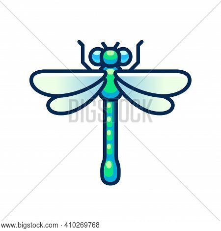 Vector Dragonfly Icon, Flat Geometric Design. Simple Cartoon Clip Art Illustration.