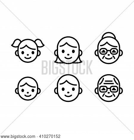 Cute And Simple People Face Icon Set. Line Icons Of Child, Adult And Senior Male And Female. Boy And