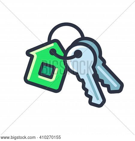 Cartoon House Keys Icon With House Shaped Key Ring. New Home Symbol. Isolated Vector Clip Art Illust