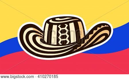 Sombrero Vueltiao, Traditional Colombian Hat With Flag Of Colombia. Vector Clip Art Illustration.