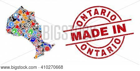 Component Ontario Province Map Mosaic And Made In Textured Rubber Stamp. Ontario Province Map Compos