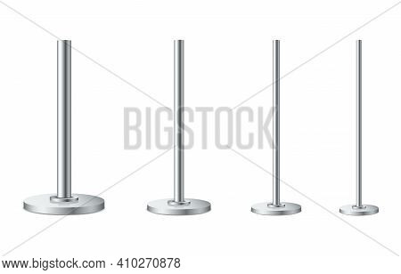 Set Of Metal Poles With Different Diameters. Realistic Detailed 3d Metal Columns. Steel Pipes. Templ