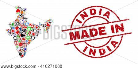 Development India Map Mosaic And Made In Scratched Rubber Stamp. India Map Collage Formed With Spann