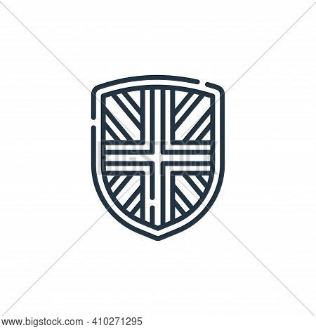shield icon isolated on white background from england collection. shield icon thin line outline line