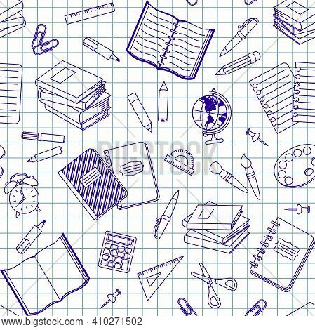 Blue School Supplies And Office Stationary On A Notebook Sheet In A Cell. Vector Seamless Pattern Fo