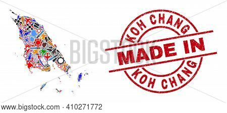 Technical Koh Chang Map Mosaic And Made In Distress Stamp Seal. Koh Chang Map Mosaic Composed With W